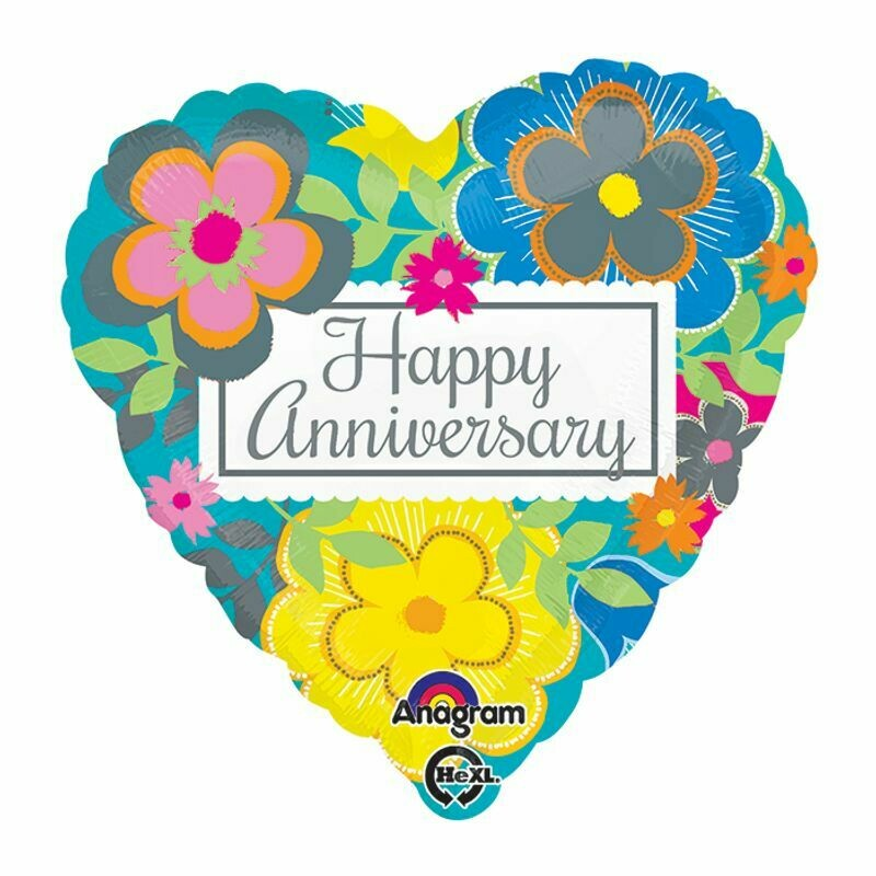 Happy Anniversary Floral - Heart Shaped