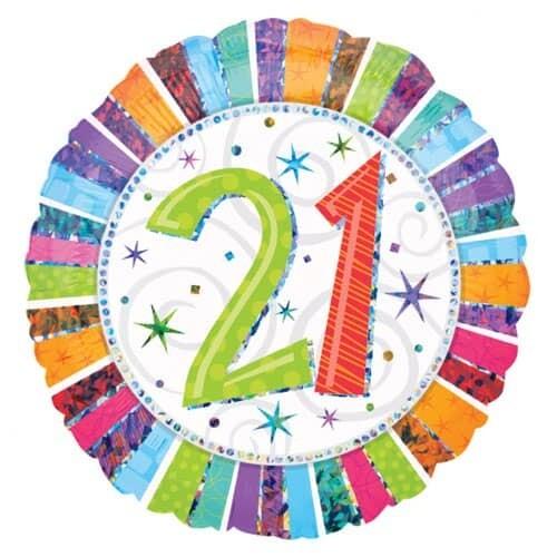 Holographic Radiant Birthday 21 Balloon