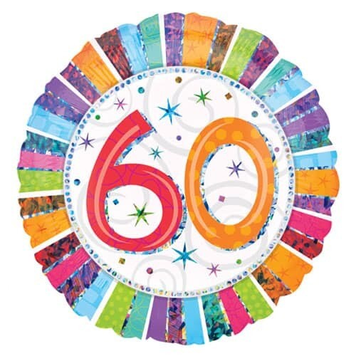Holographic Radiant Birthday 60 Balloon
