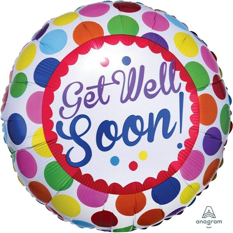 Get Well Soon Dots Foil Balloon