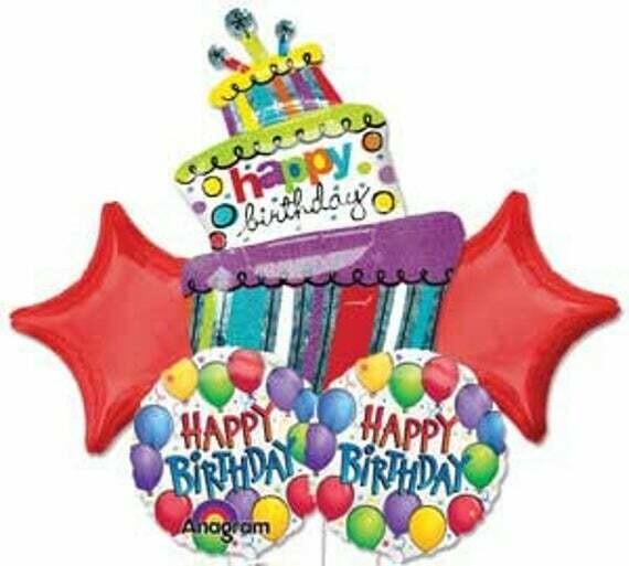 Happy Birthday Cake Foil Balloon Bouquet