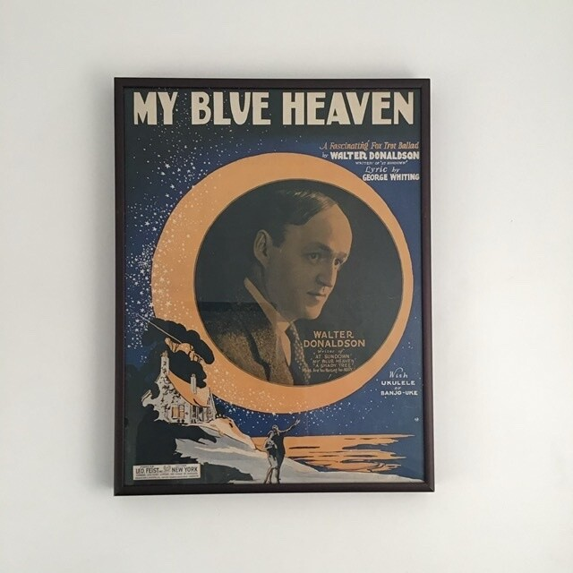 """My Blue Heaven"" Framed Song Sheet Cover"