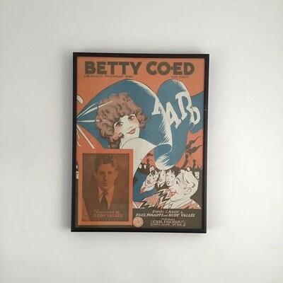 """""""Betty Co-Ed"""" Framed Song Sheet Cover"""