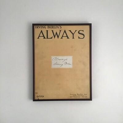 """Irving Berlin's """"Always"""" Framed Song Sheet Cover"""