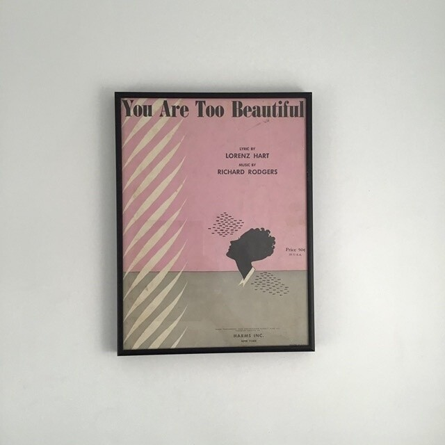 """""""You Are Too Beautiful"""" Framed Song Sheet Cover"""