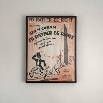 """""""I'd Rather Be Right"""" Framed Song Sheet Cover"""
