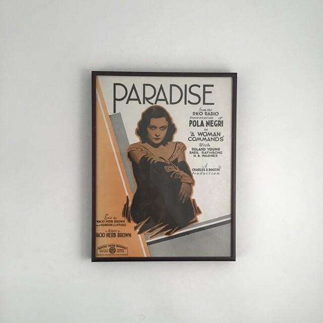"""""""Paradise"""" Framed Song Sheet Cover"""