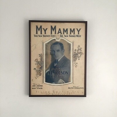 """My Mammy"" Framed Song Sheet Cover"