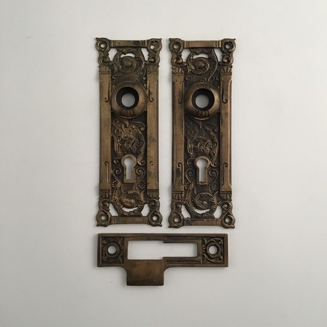 Two Ornate Door Plates And Strike Plate