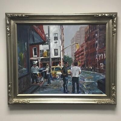 City Street Scene Framed Painting