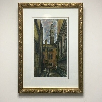 Framed Pen and Ink Drawing Italianesque Street