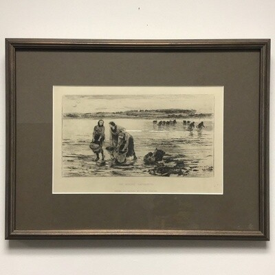 "Framed Reproduction ""The Mussel Gatherers"" By Colin Hunter"