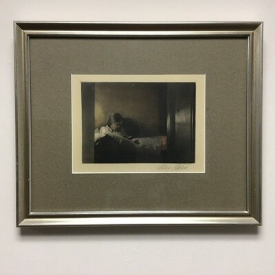 Woman Reading Signed Print Framed