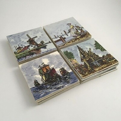 Lot Of 16 Delft Tiles