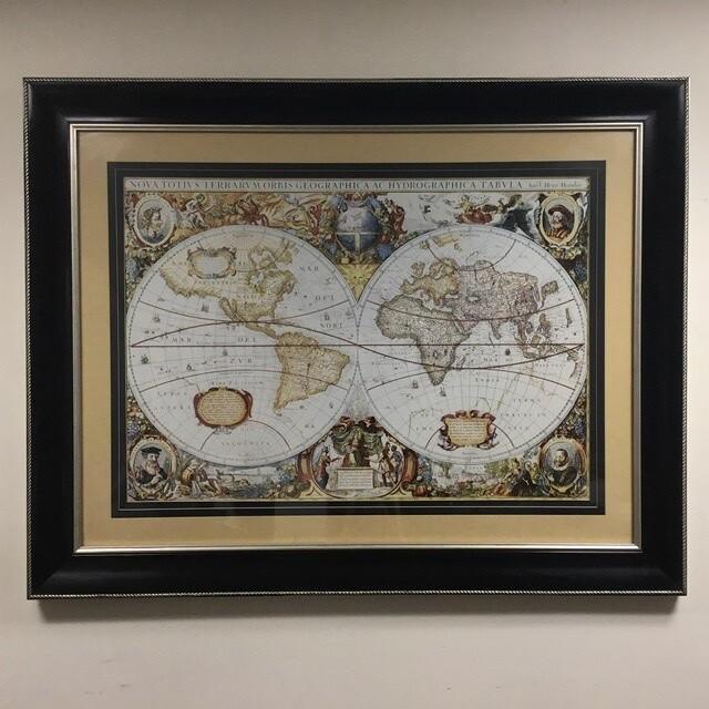Framed Nova Totius Terrarum Orbis Geographica Ac Hydrographica Tabula Map Reproduction
