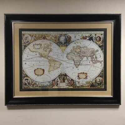 Framed Nova Totius Terrarum Orbis Geographica Ac Hydrographica Tabula Map Reproduction