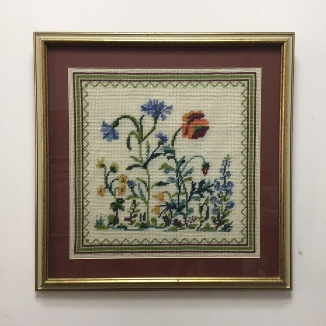 Framed Floral Cross Stitch