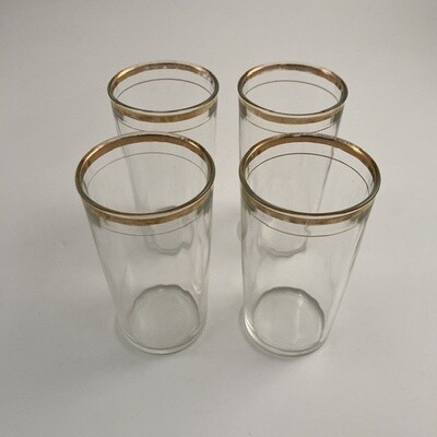 Gold Rimmed Highball Glasses Set Of 4