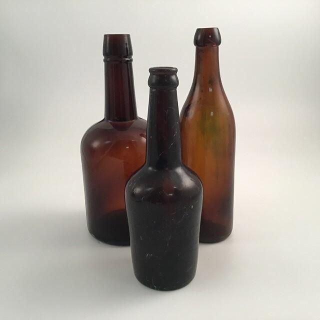 Antique Glass Bottles Lot Of 3