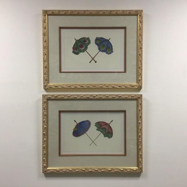 Pair of Framed Prints Of Umbrellas
