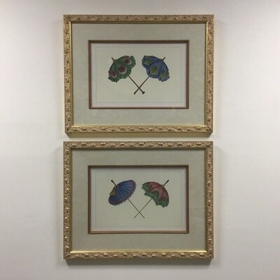 Pair of Framed Prints Of Umbrellas