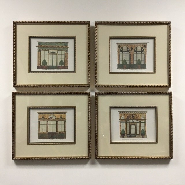 Set of Four Prints of French Boutique Facades