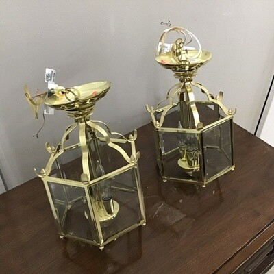Matching Pair Of Brass Lanterns