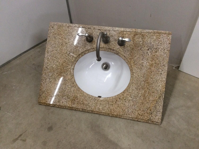 Polished Granite Vanity Top Sink w/Faucet