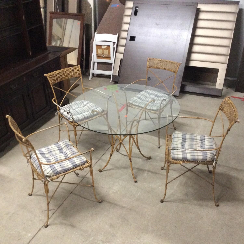 Glass-Top Wrought Iron Patio Set
