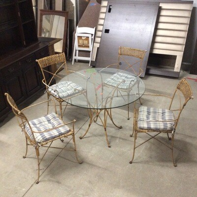 Glass-Top Wrought Iron Patio Set