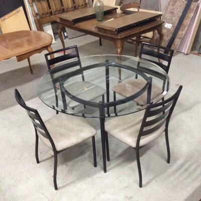 Glass-Top Round Table & 4 Chairs Set