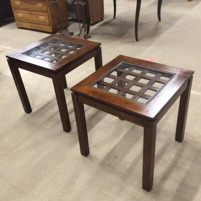 Pair of Glass-Top End Tables
