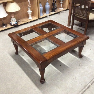 4 Glass Panel-Top Solid Wood Coffee Table