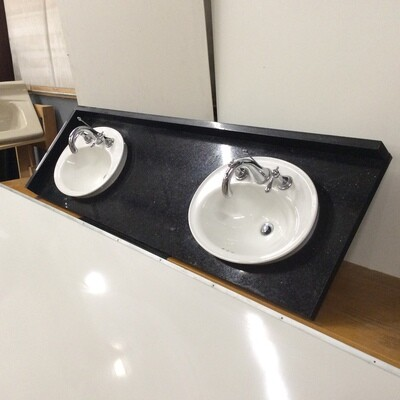 Polished Stone Double Kohler Sink Vanity Top