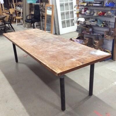Custom-Built Industrial-Style Workshop Table