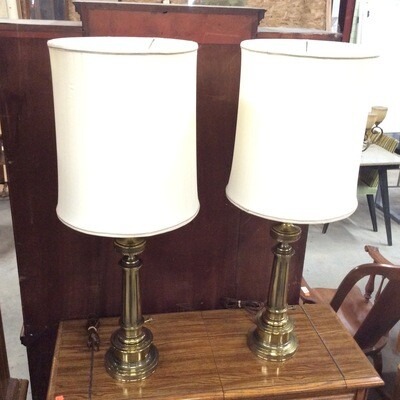 Pair of Heavy Brass Table Lamps