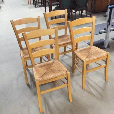 Set of 4 Thatched Seat Chairs