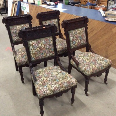 Set of 4 Antique Chairs (Re-upholstered)