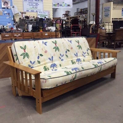 Full-Size Solid Wood Futon Couch