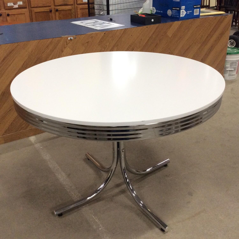 Chrome Base White-Top Round Table