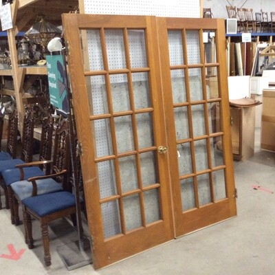Set of Solid Wood15-Panel Glass French Doors