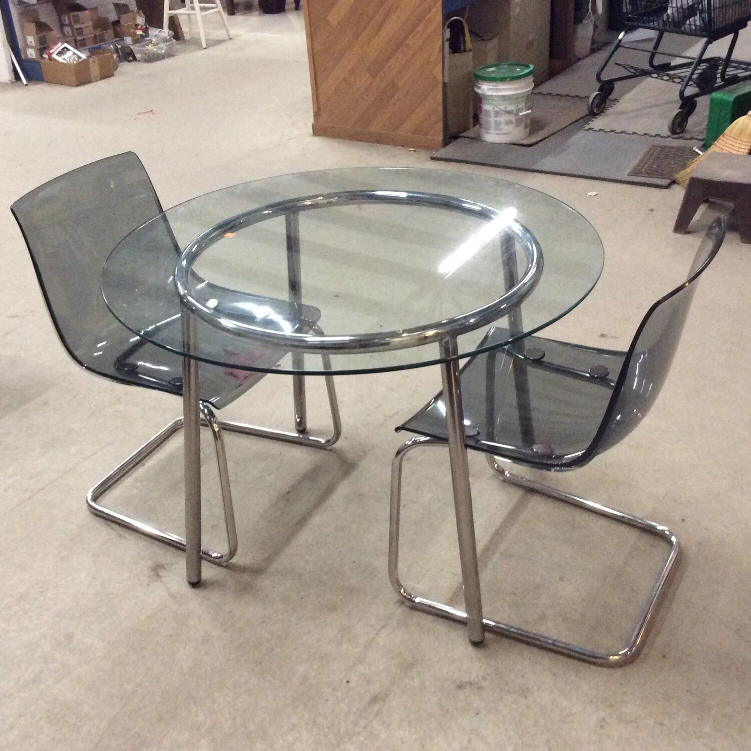 Modern-Style Chrome Base Glass-Top Table & 2 Chairs Set