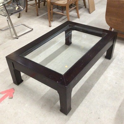 Dark Wood Finish Frame Glass-Top Cofee Table
