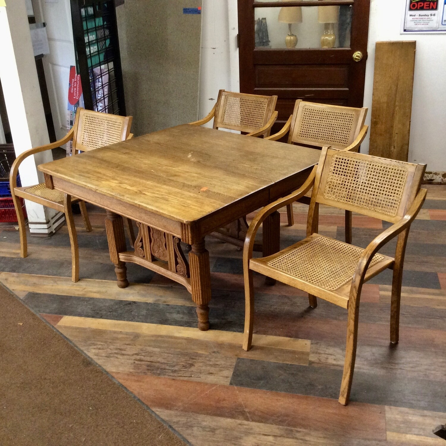 All-Wood Table & 4 Chairs Set