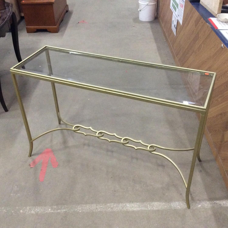 Glass-Top Wrought-Iron Frame Sofa Table