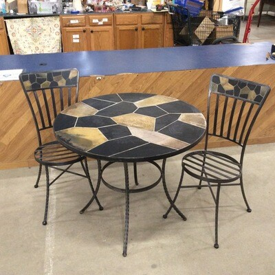 Wrought Iron w/ Tile Top Bistro Table and Chairs Set