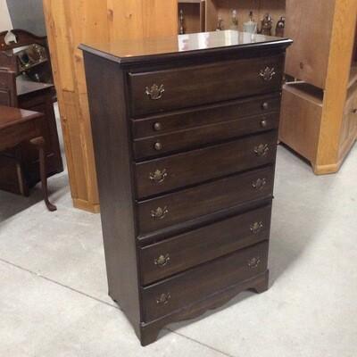 Dark Wood Finish 6 Drawer Dresser