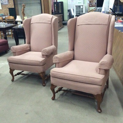 Pair of High-Back Arm Chairs from Temple Fine Furniture