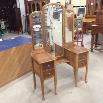 All-Wood Vanity Desk w/ Tri-fold Mirror