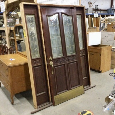 Solid Wood Entryway Door w/Sidelights Unit